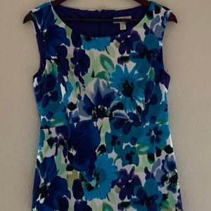 DRESS BARN Blue Floral Pattern Dress